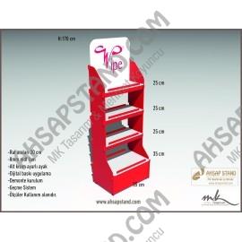 3 Raflı Organik Şampuan Ürün Standı