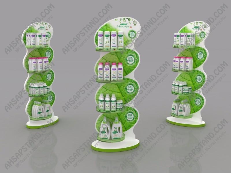 4 Raflı Organik Şampuan Ürün Standı